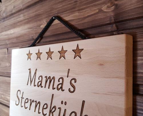 Mamas Sterneküche Wunschname persönliche Gravur Küche Buche massiv Schild