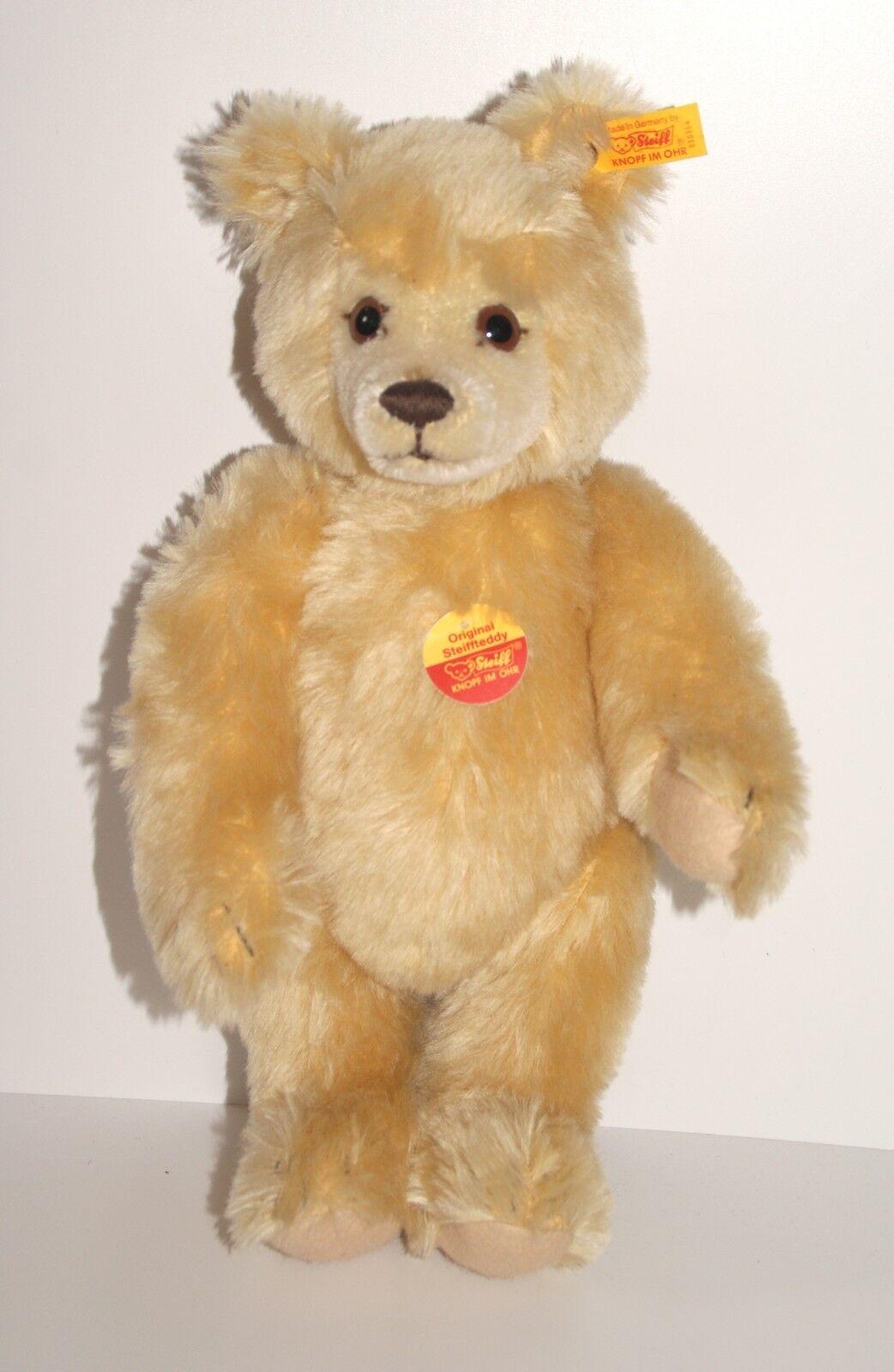 35 cm großer Mohair Steiff Teddy Bär unbespielt Teddy Bär KFS hart gestopft