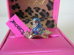 Betsey-Johnson-Gold-Tone-Adjustable-Blue-Bird-Ring-w-Crystals