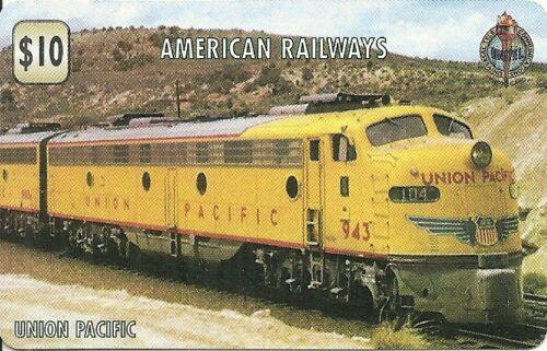 RARE CARTE TELEPHONIQUE PAPIER UNION PACIFIC AMERICAN RAILWAYS// TRAIN