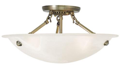 3 Light Livex Oasis Antique Brass Semi Flush Mount Ceiling Fixture Lamp 4273-01