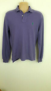 Mens-Polo-Ralph-Lauren-Purple-Top-Camisa-Polo-De-Manga-Larga-S-Pequeno-Ajuste-Personalizado