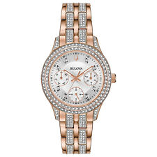 Bulova Women's Quartz Crystal Accents Rose Gold Tone 33mm Watch 98N113