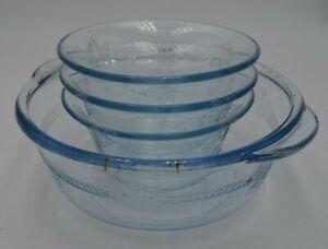 Vintage-Fire-King-Sapphire-3-Custard-Dessert-Cups-1-Oven-Glass-Bowl-Blue