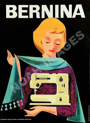 Bernina Favorit vintage swiss sewing machine poster 12x16