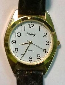 NEU-Original-Bently-Quarz-Armbanduhr-mit-Lederband-Klassisch