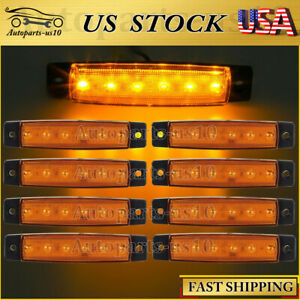 8x Amber 6 LED Side Marker Indicator Lights Lamps 12V Caravan Camper Motorhome
