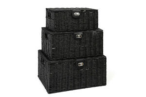 Black Resin Woven Hamper Storage Basket Box With Lid /& Lock In 3 Size Ideal Gift