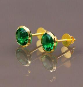 Dark Green Corundum 18k gold vermeil cz earring Handmade