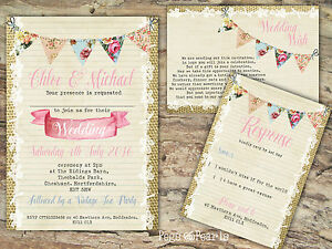 PERSONALISED BURLAP BUNTING LACE WEDDING INVITATIONS PACKS OF 10