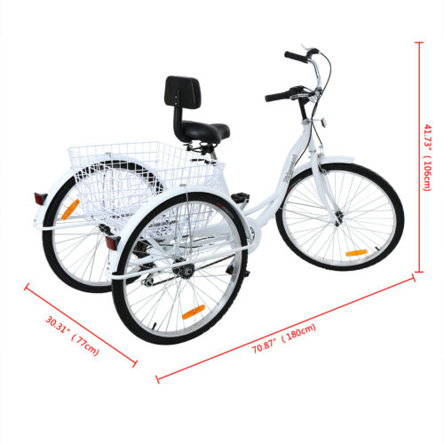 "Shimano 7-Speed Adult 26/"" 3-Wheel Tricycle Trike Bicycle Bike Cruise White Color"