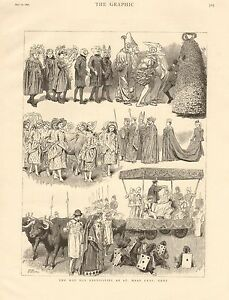 1890-ANTIQUE-PRINT-MAY-DAY-FESTIVITIES-AT-ST-MARY-CRAY-KENT