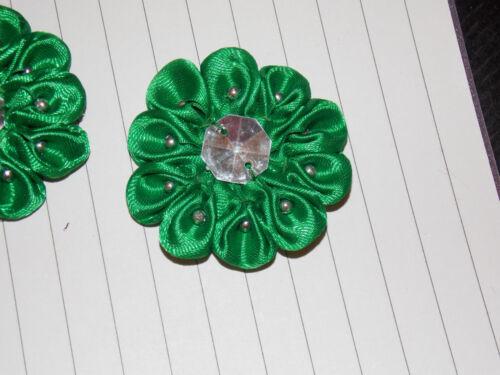 Verde Satín Joya Flor 4.5 cm niños Pegamento en Coser En Apliques Motif Parche Trim