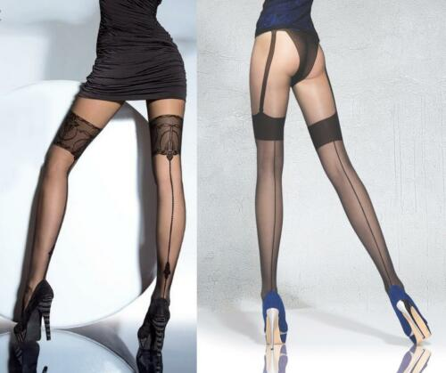 Fiore Beverly Collant 20 DEN modello finte bretelle Calze Retro Pattern cuciti NUOVO