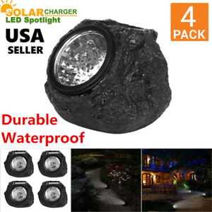 4x-Outdoor-Solar-Powered-Rock-Spotlights-Walkway-Landscape-Garden-Path-LED-Light