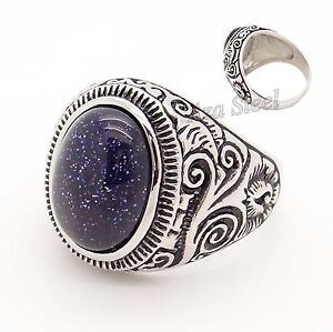 Natural-Oval-Blue-GOLDSTONE-SANDSTONE-GEMSTONE-Stainless-Steel-Ring-Size-8-15