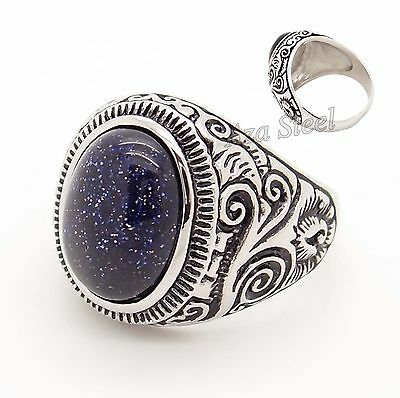 Natural Oval Blue GOLDSTONE SANDSTONE GEMSTONE Stainless Steel Ring Size 8-15