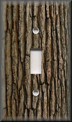 Light Switch Plate Cover - Image Of Tree Bark - Rustic Cabin Home Decor