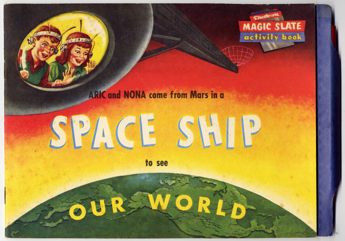 Vintage SPACE SHIP MAGIC SLATE ACTIVITY BOOK (1954) Strathmore Co