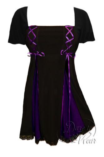 Plus Size SS Gemini Princess Black Purple Gothic Corset Top 1X 2X 3X 4X 5X