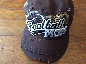 bae69f3fb400f Image is loading Brown-Football-Mom-Baseball-Bling-Hat-98-Adjustable-