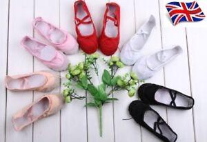 UK-Seller-New-Comfortable-Canvas-Yoga-Ballet-Dance-Children-amp-Adults-Flat-Shoes