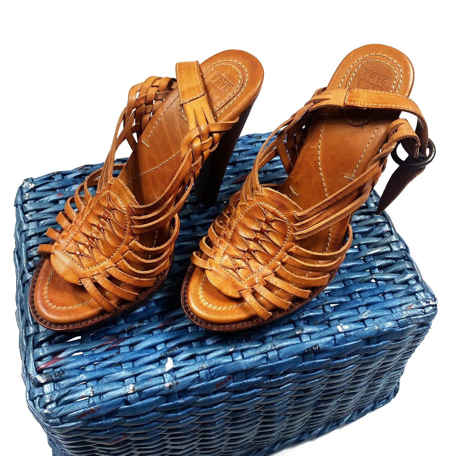278 FRYE Joy Huarache Größe 8.5 Slingback Leather Braided Sandals Heels damen