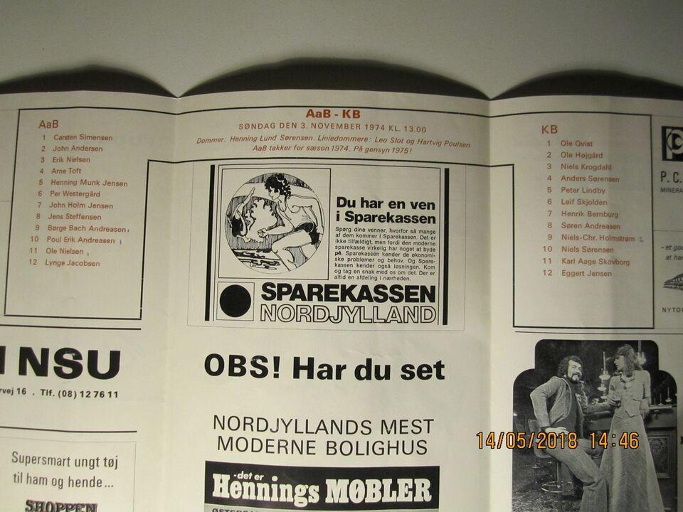 Bøger og blade, Kampprogrammer AaB Fodbold