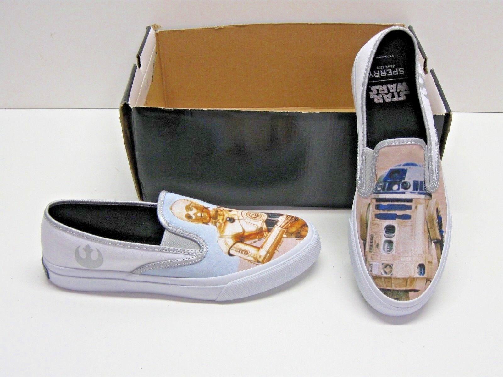 Scarpe casual da uomo Sperry Cloud Star Wars R2-D2 C-3PO White Canvas Slip On Sneakers Shoes uomos 10.5