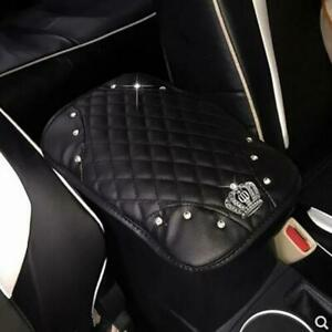 1X-Bling-Diamond-Rhinestone-Black-Leather-Armrest-Box-Rail-Pad-Mat-Car-Accessory