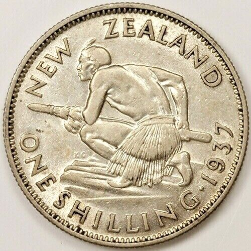 New Zealand One Shilling Silver Coin