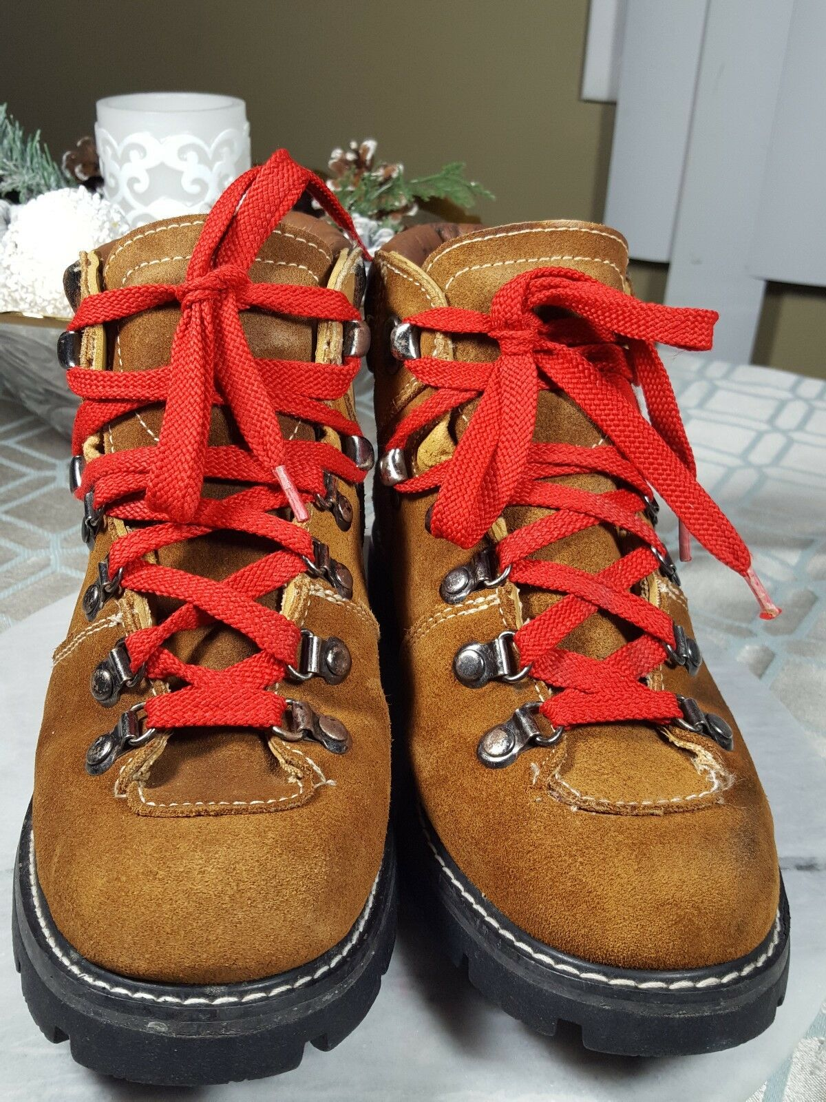 VINTAGE OZARK TRAIL LACE UP HIKING ANKLE LEATHER BOOTS MEN'S SIZE 6  WOMAN'S 8 M