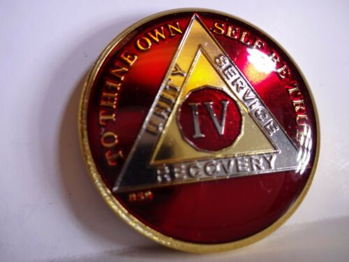 AA BSP Red Gold 4 Year Coin Tri-Plate Alcoholics Anonymous Medallion Top Grade