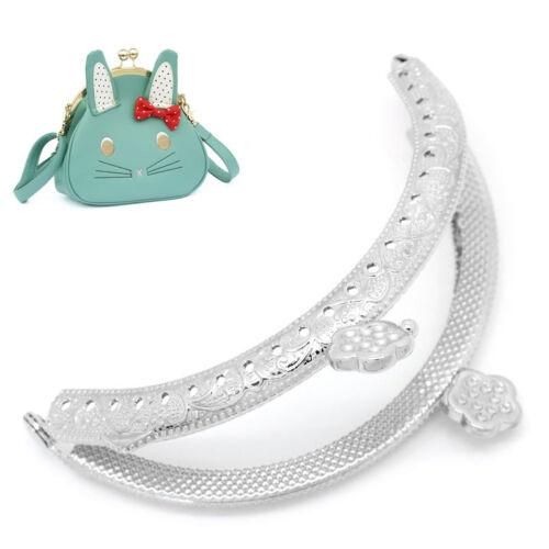 Wholesale Lots Metal Purse Bag Frame Kiss Clasp Arc Heart Silver Tone
