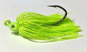 3-1-4-Oz-Glow-Chartreuse-Poison-Tail-Swim-Jig-Mustad-Fluke-Sea-Bass-Striper