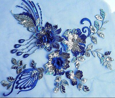 3D Royal Blue Silver Sequined Floral Embroidery Applique Motif Lace Trim EB0287