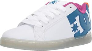 DC-Shoes-Court-Graffik-SE-Scarpe-di-Pelle-Bianco-Nero-Ciano-UK-13