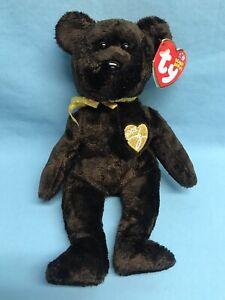 """TY 10 Years Beanie Baby 2003 Signature Bear 9"""" Plush Stuffed Animal Toy NEW"""