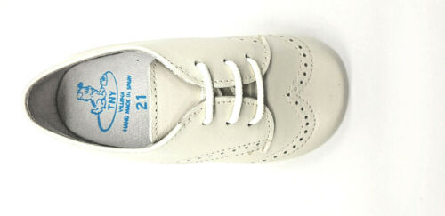 Tinny Spanish Infant Kids smart//dressy Beige Leather Brogue Lace up shoes