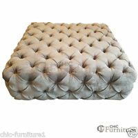 Small Square Chesterfield Buttoned Fabric Upholstered Fixed Bench / Stool / Seat