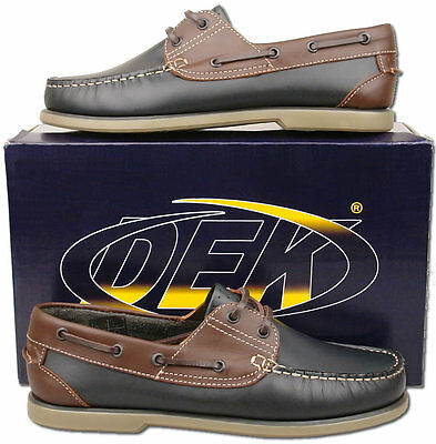 Mens New Blue Leather Lace Up Moccasin Boat Dek Shoes Size 6 7 8 9 10 11 12