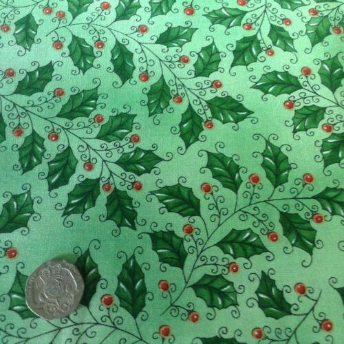Ecualizadores espíritu navideño Acebo Verde De Algodón Acolchado Tela Fq 50cm X 54cm