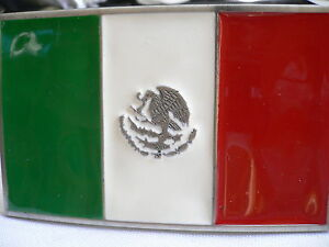 New-Men-Women-Western-Mexico-Large-Flag-Silver-Metal-Buckle-Green-White-Red