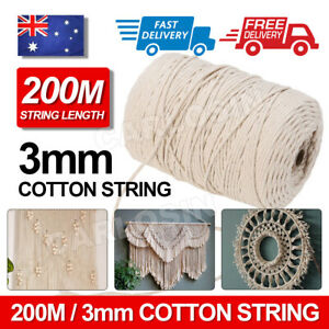 200m-100-Natural-Cotton-String-Twisted-Cord-Beige-Craft-Macrame-Artisan-3mm-HOT