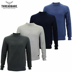Mens-Jumper-Crew-Roll-Neck-Sweater-Ribbed-Pattern-100-Cotton-Casual-Thin-Top