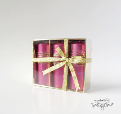CTD 4 Inch Pink with Gold Glitter Striped Candle Set, Lot of 12, Wholesale