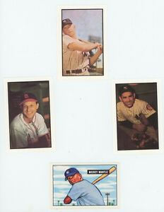 1953-Bowman-Hall-of-Fame-Reprint-set-8-Cards-Mickey-Mantle-amp-Bonus-MANTLE-ROOKIE