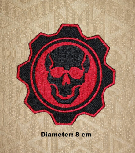 War Game Gear Red Skull Logo Embroidered Patch// badge