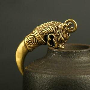 Chinese-Antique-Brass-Wolf-Tooth-Pendant-Small-Statue-Pocket-Gift-Ornament-Hot