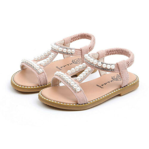Toddler Infant Kids Baby Girls Pearl Crystal Single Princess Roman Shoes Sandals